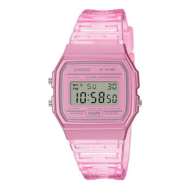 Casio Digital Pink Resin Band Watch F91WS-4D F-91WS-4