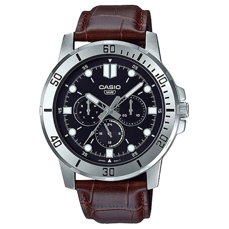 Casio Men's Multi-Hand Dark Brown Leather Strap Watch MTPVD300L-1E MTP-VD300L-1E