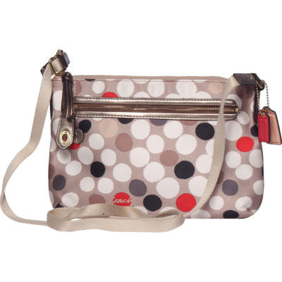 Coach New Beige Polka Dot Signature Crossbody With Gold Trim