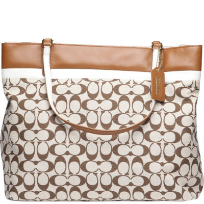 Coach Printed Signature Canvas and Calf Leather Tote