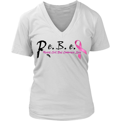Lady R.e.B.e.L Cancer Support V-Neck **Special Edition**  Black Script