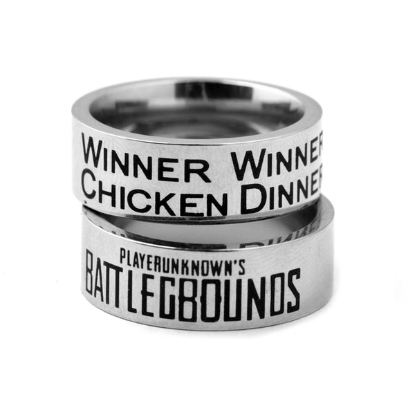 Hot PUBG Playerunknowns Battlegrounds WINNER WINNER CHICKEN DINNER Stainless Steel Band Ring
