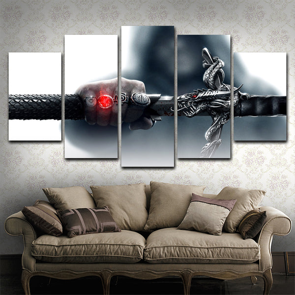 Dragon Rings Art Work Swords  5 Piece Canvas