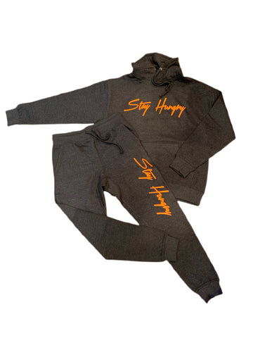 Grey Stay Hungry Sweatsuit with Neon Orange design