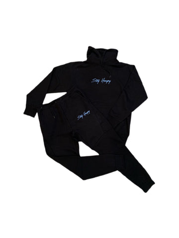 Black & Light Blue 3D Embroidered Stay Hungry Sweatsuit