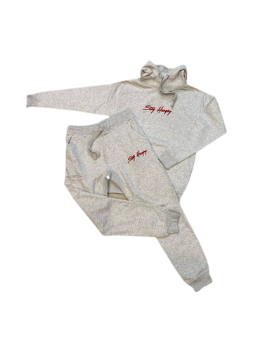 Cream & Red 3D Embroidered Stay Hungry Sweatsuit