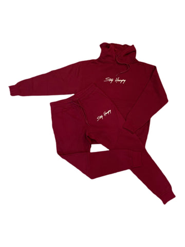 Burgundy & Cream 3D Embroidered Stay Hungry Sweatsuit