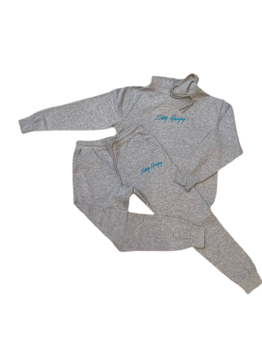 Heather Grey & Teal 3D Embroidered Stay Hungry Sweatsuit