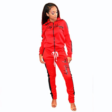 Stay Hungry Tracksuit- Women's Red +Black
