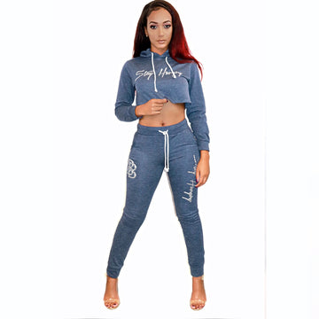 Women's Crop Top Set Heather/Silver