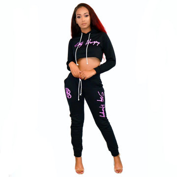 Women's Crop Top Set Black/Pink