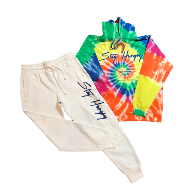 Stay Hungry 'Stay Hungry' Tie dye with oatmeal sweatsuit