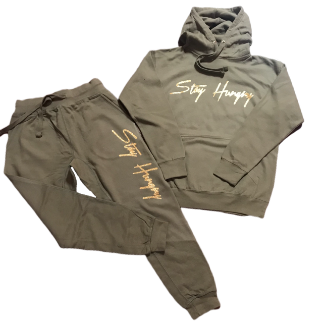 Stay Hungry 'Stay Hungry' Olive Green Sweatsuit