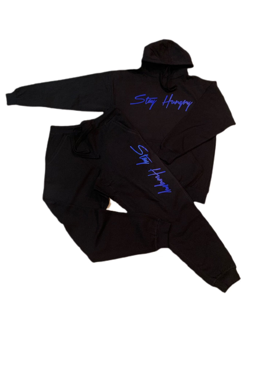 Black Sweatsuit With Blue Stay Hungry