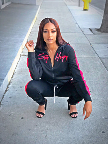 Stay Hungry Tracksuit- Women's Black +Red