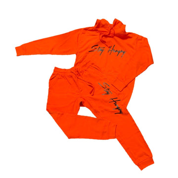 Orange with Black Stay Hungry sweatsuit