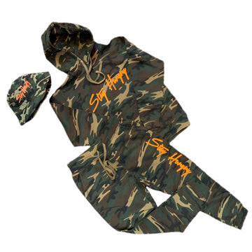 Stay Hungry Camo with neon orange set