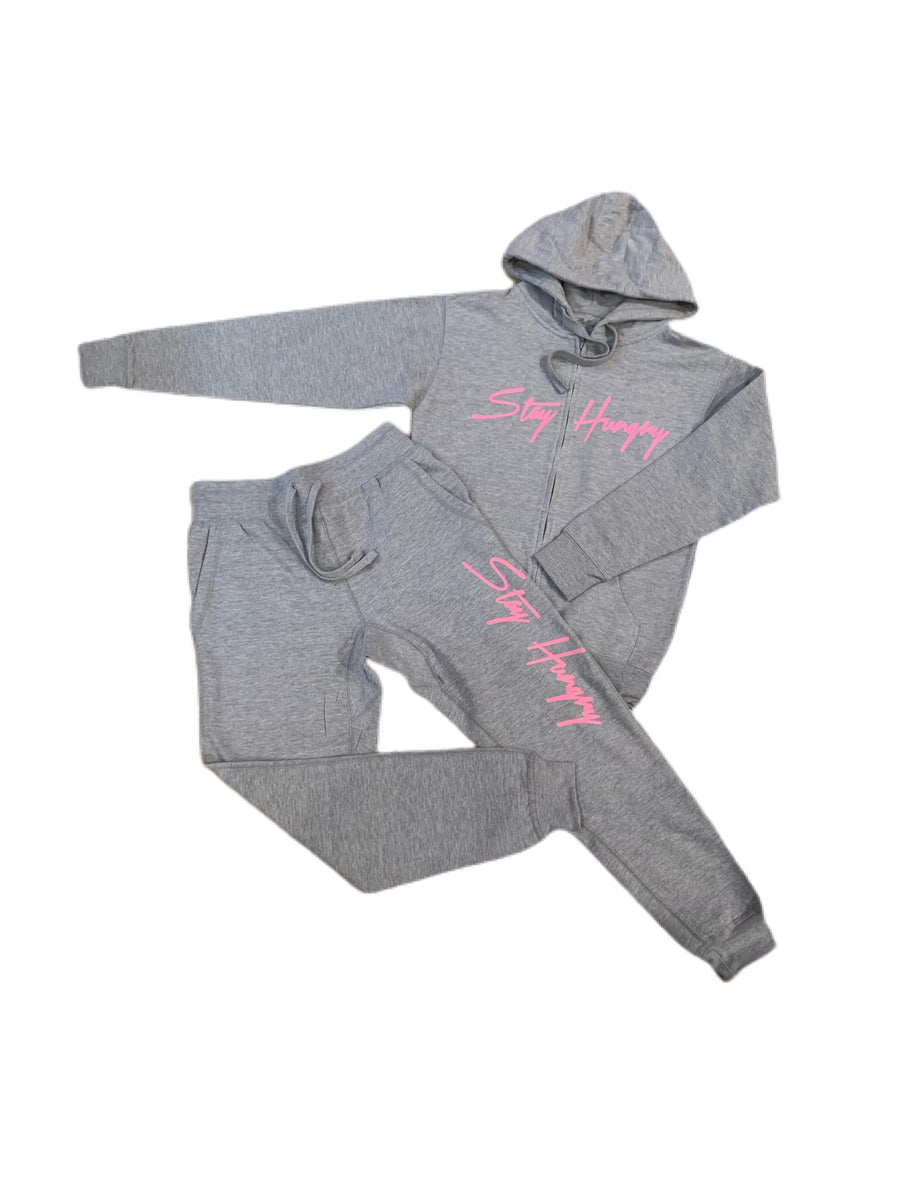 Grey Area Stay Hungry Sweatsuit with Pink