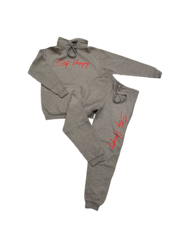 Grey Area Stay Hungry Sweatsuit with Red