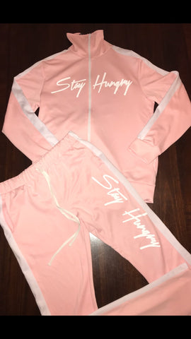 Stay Hungry Track Suit- Pink & White