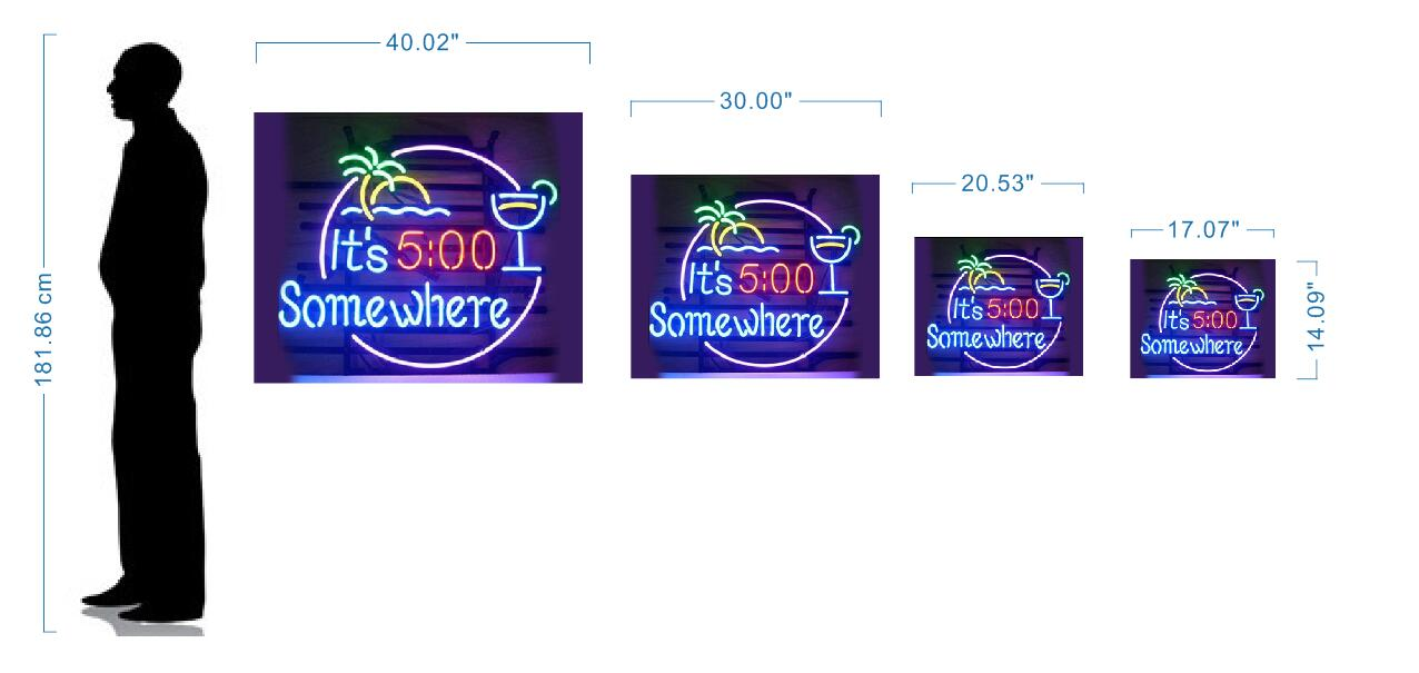 neon signs size reference