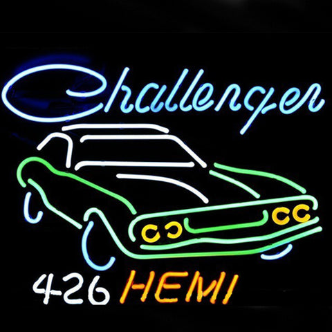 Professional  Big Dodge Challenger Rt Hemi Auto Dealer Pub Store Beer Bar Real Neon Sign