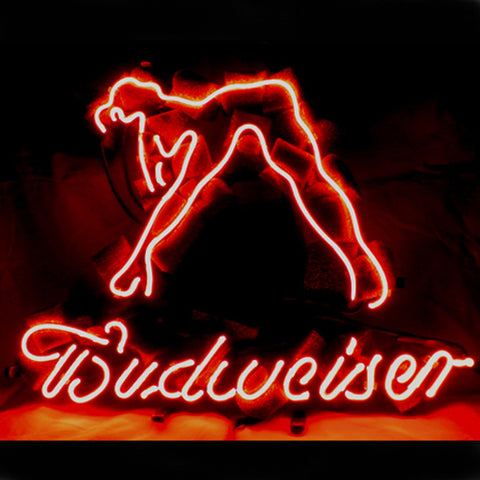 Professional  Budweiser Girl Beer Bar Open Neon Signs