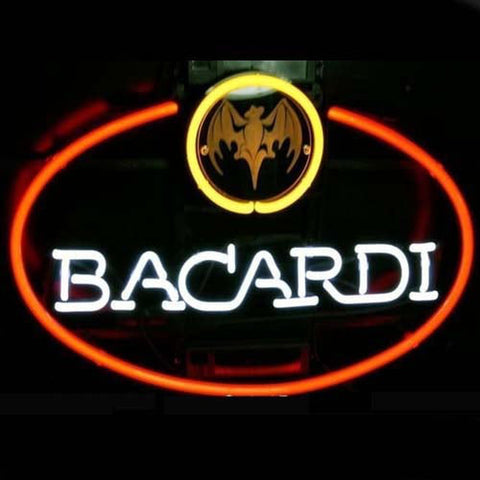 Big Bacardi Bat Rum Logo Pub Store Handmade Art Neon Sign
