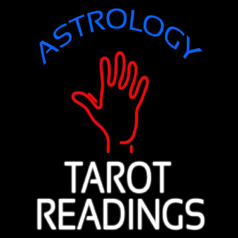 Blue Astrology White Tarot Readings Handmade Art Neon Sign