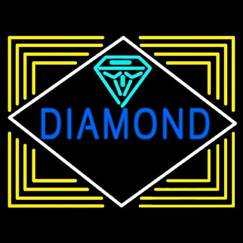 Blue Diamond Block Handmade Art Neon Sign