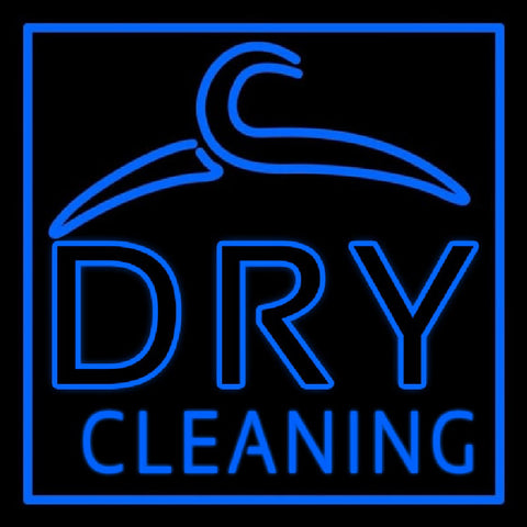 Blue Dry Cleaning Handmade Art Neon Sign
