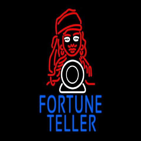Blue Fortune Teller With Logo Handmade Art Neon Sign