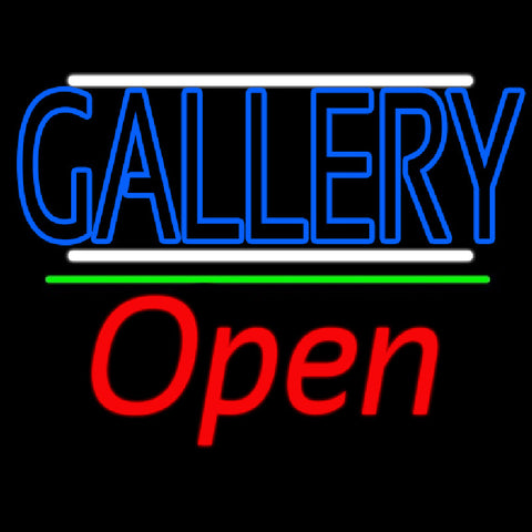 Blue Gallery With White Line With Open 2 Handmade Art Neon Sign