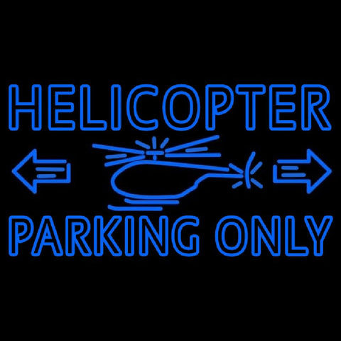 Blue Helicopter Parking Only Handmade Art Neon Sign