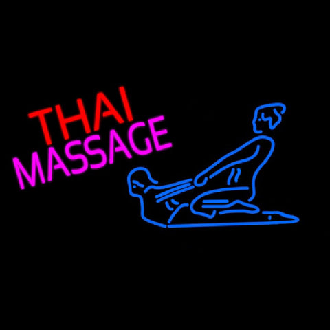 Blue Thai Massage Logo Handmade Art Neon Sign