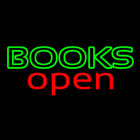 Books Red Open Handmade Art Neon Sign