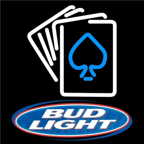 Bud Light Cards Beer Sign Handmade Art Neon Sign