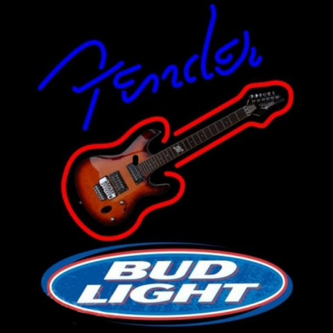 Bud Light Fender Blue Red Guitar Beer Sign Handmade Art Neon Sign