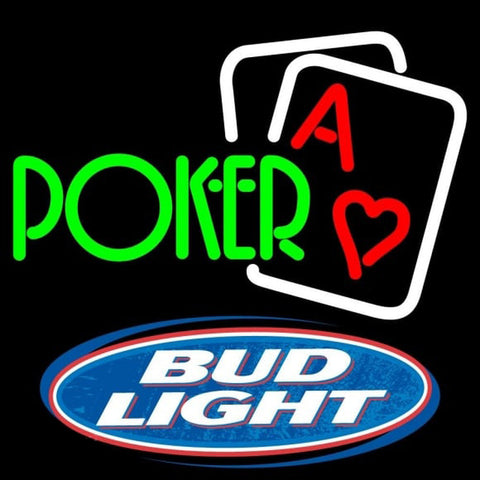 Bud Light Green Poker Beer Sign Handmade Art Neon Sign