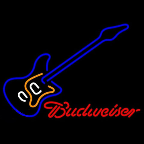Budweiser Blue Electric Guitar Beer Sign Handmade Art Neon Sign