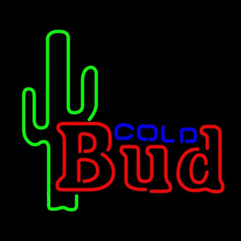 Budweiser Cold Cactus Beer Sign Handmade Art Neon Sign