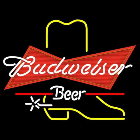 Budweiser Cowboy Boot Beer Sign Handmade Art Neon Sign