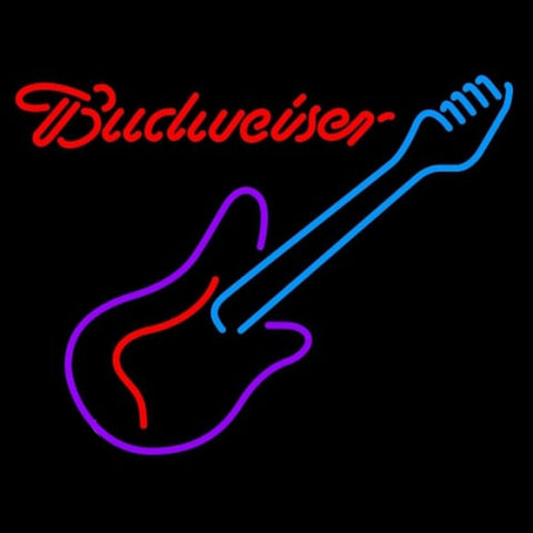 Budweiser Guitar Purple Red Beer Sign Handmade Art Neon Sign