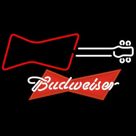 Budweiser Red Guitar Red White Beer Sign Handmade Art Neon Sign