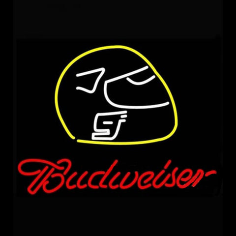 Budweiser Vintage Hascar Helmet6 Beer Light Handmade Art Neon Sign