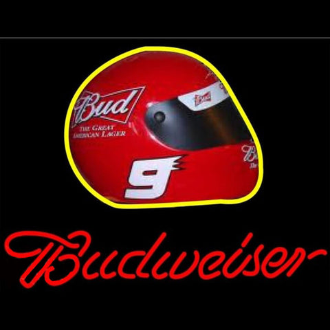 Budweiser Vintage Hascar Helmet7 Beer Sign Handmade Art Neon Sign