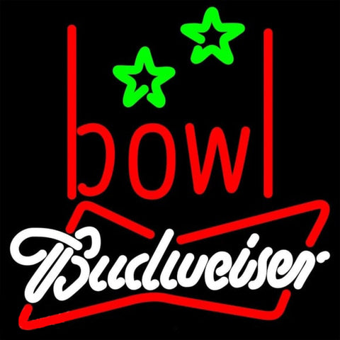 Budweiser White Bowling Alley Beer Sign Handmade Art Neon Sign