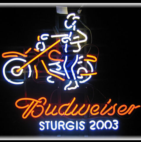 Budweiser Sturgis 2003 Motorcycle Neon Bar Sign
