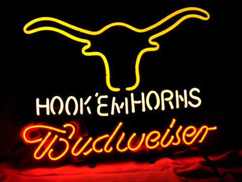 Budweiser Texas Longhorns Beer Bar Neon Light Sign