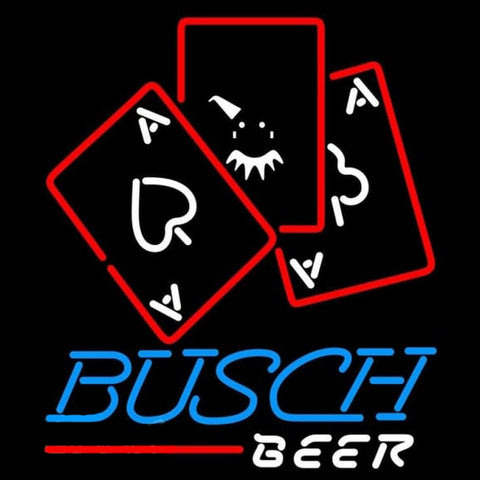 Busch Ace And Poker Beer Sign Handmade Art Neon Sign